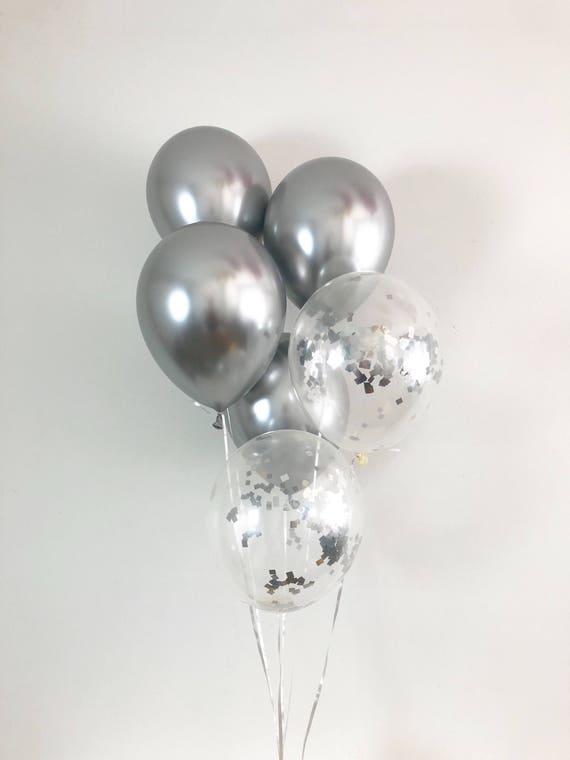 New Silver Chrome Balloons Silver Confetti Balloons Chrome