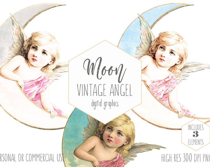 MOON FAIRY CLIPART for Commercial Use Angel Clip Art Victorian Vintage Celestial Goddess Image Ephemera Antique Die Cut Digital Graphics