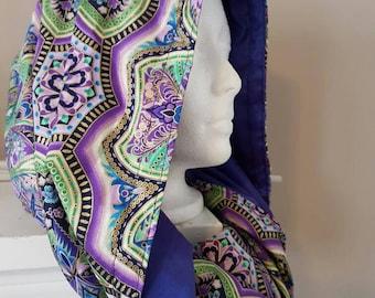 Gaia Goddess Mandala COWL Hood / Infinity Scarf reversible