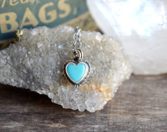 Turquoise Heart Necklace, Small Turquoise Pendant, Real Turquoise Necklace, Mothers Day Jewelry, Bridesmaid Necklace, Gift for Daughter