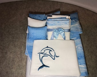 "Item #60  1/12 Scale Dollhouse Bedding Set.  ""Ocean Waves"" Full"