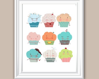 Childrens Wall, Wall decorations, Wall art decor,kids wall art, Illustration Art Print Wall, wall decorations, nursery wall art, cake poster