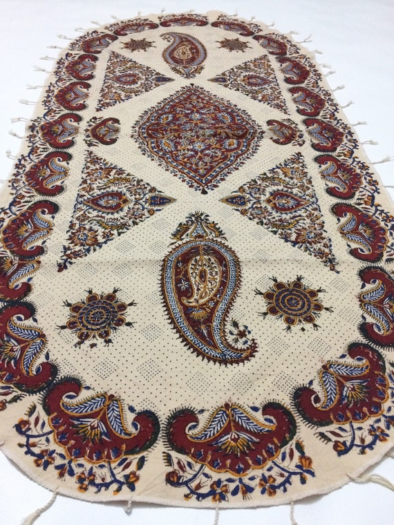 "Hand block printed Oval tablecloth,traditional handmade cotton tapestry, 45""x25"" inches paisley design with natural dyes and tassels,paisley"