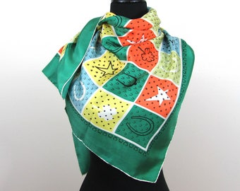 "Novelty ""Lucky"" Symbols Silk Scarf - 34"" square - 4 leaf clover, horseshoes, stars - 1950s-60s"