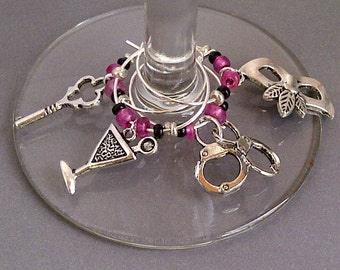 Girls Night Out Wine Charm Set of 4 - Bachelorette Party
