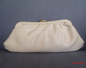 White Roll Leather Snap/Chain Purse-FREE SH