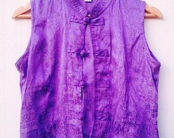 SALE! Vintage Thai Silk Purple Blouse // Mandarin Collar Crop Top // Retro Hippie Boho Style //SIZE SMALL