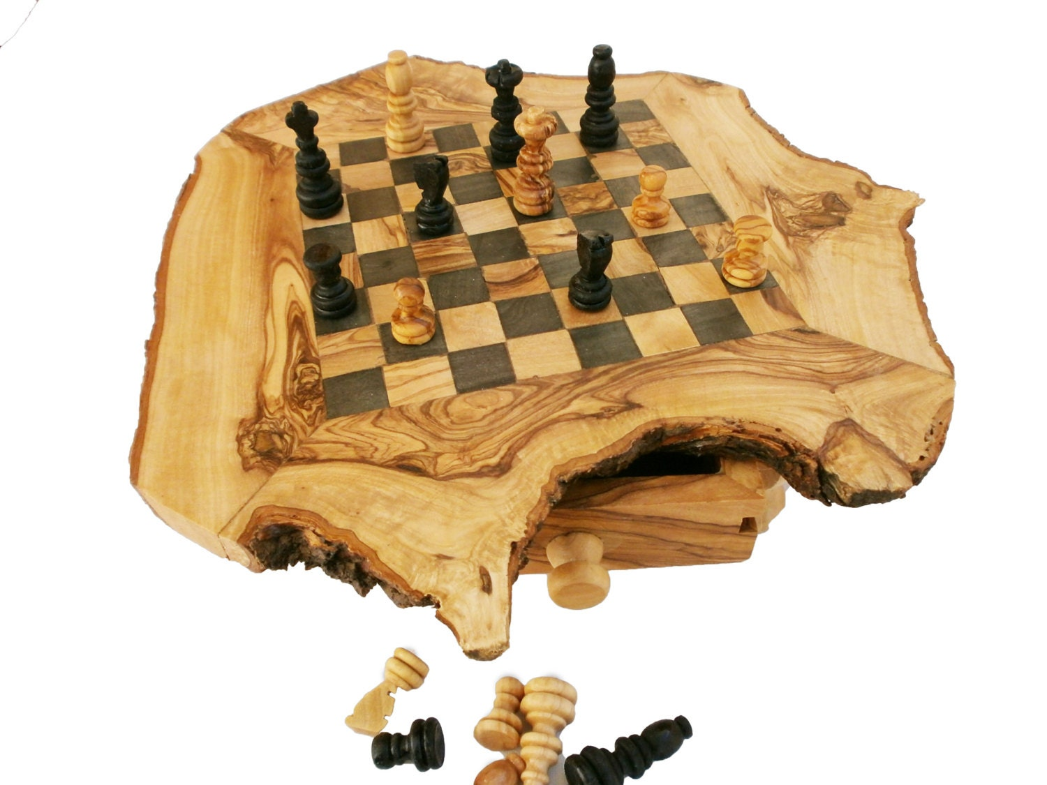 🔎zoom  sc 1 st  Etsy & Olive Wood Rustic Chess Set Natural edge chess board Dad