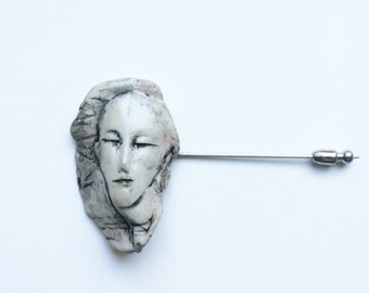 Porcelain Face Pin 1