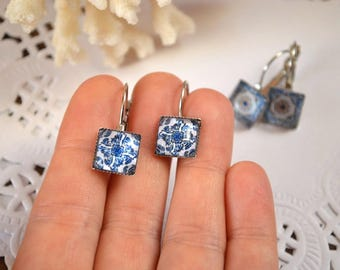 square earrings mini jewelry minimalist earrings for sister gift for her gift for aunt gift for wife fashion earrings geometric jewelry blue