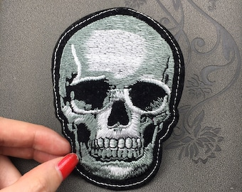 skull patch head skull patch Embroidered funny Punk Patch Applique Embroidery Iron On Patch Sew On Patch