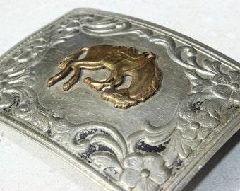Vintage Nickel Silver Belt Buckle Rodeo Bucking Bronco Brass Rectangular