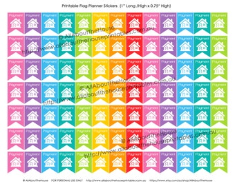 Mortgage Repayment Rent Planner Stickers Flag Printable Banner bunting Home House made for Erin Condren, Plum Paper or other planner F036-38
