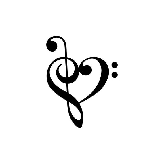 treble bass clef heart rh etsy com treble bass heart vector treble bass heart clef