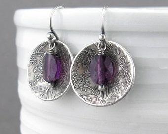 Simple Purple Earrings Amethyst Earrings Purple Crystal Earrings Dangle Silver Drop Earrings Modern Jewelry Bohemian Jewelry - Contrast