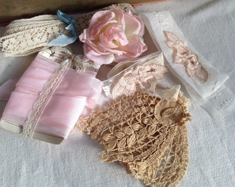 Vintage Laces, Appliqués, Trims, Pink Grosgrain Tape  and a Vintage Millinery Rose - Vintage Wedding Period Costume Dolls & Bears - Fun!