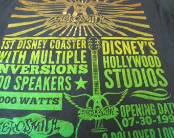Disney Shirt. Aerosmith T-shirt. Graphic Tee. Top. Aerosmith Original Pre-Opening Rock And Roller Coaster Promotion. Music. Hard Rock Band.