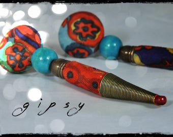 SOLD - Earrings - Gypsy - multicolored fabric with dominant red, purple and blue - bronze metallic beads and turquoise wood