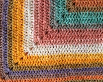 Multi color crochet handmade throw/baby blanket/lapghan
