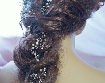 Bridal hair vines, Extra long hair vines, Wedding hair vines, Brides hair do, Braided hair style vines, Hand made, Ivory or white pearls