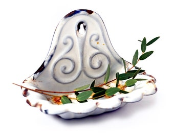 Antique French Enamel soap dish, French art nouveau Enamelled Soap Dish ,Shell Shape Soap Dish