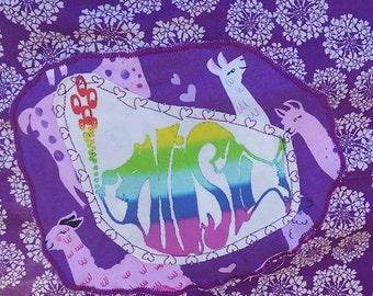 WOMEN'S SIZE 10 PHISH Dress Llama V-neck V-back  Festival Summer Ecofashion
