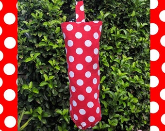 Red Polka Dot plastic bag dispenser