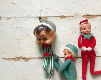 Vintage elf on a shelf, knee hugging elves, Christmas jingle elf