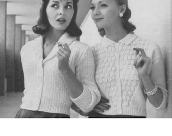 Vintage Knitting Pattern download- Women's Cardigan - Shawl collar cardigan//sweater 1950s style
