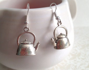 Antique Style Silver Teapot Earrings. Simple Dangle Earrings. 5 Dollars. Gifts for Her. Tea Lover. Tea Time. Unique Gifts. Silver. Dainty.