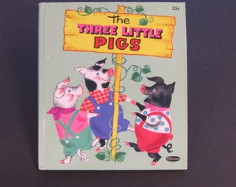 The THREE LITTLE PIGS Whitman Tell a Tale book Hilda Miloche  hardback New!!!