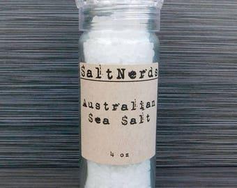 Australian Coarse Sea Salt • Glass Jar w/ Grinder • 4 oz • SaltNerds • Foodie Gift • Refillable • Reusable • FREE SHIPPING! On orders 150+