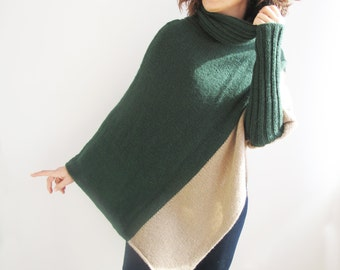 Stylish Two Color Hand Knitted Poncho with Accordion Neck Plus Size Over Size Tunic by Afra
