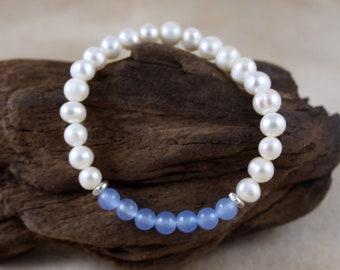 Women's Aquamarine & Freshwater Pearl March Birthstone Bracelet