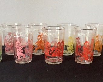 1953 Howdy Doody Welches glasses - set of 11