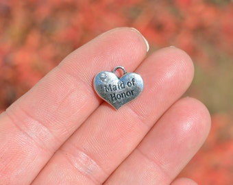 BULK 20  Maid of Honor Silver Tone Heart  Charms SC2252