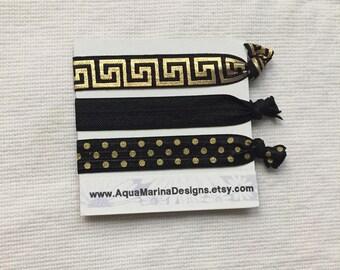 Black and Gold Elastic Hair Ties