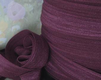 5yds Elastic Ribbon Plum Fold Over DIY HeadBands Ponytail Hair Ties 5/8 inch 15mm FOE Purple Elastic by the yard