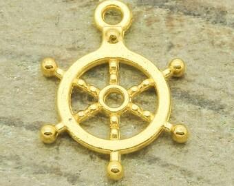 20 x Gold ship wheel charms