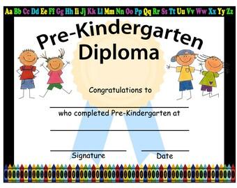 kindergarten graduation blank diploma instant download