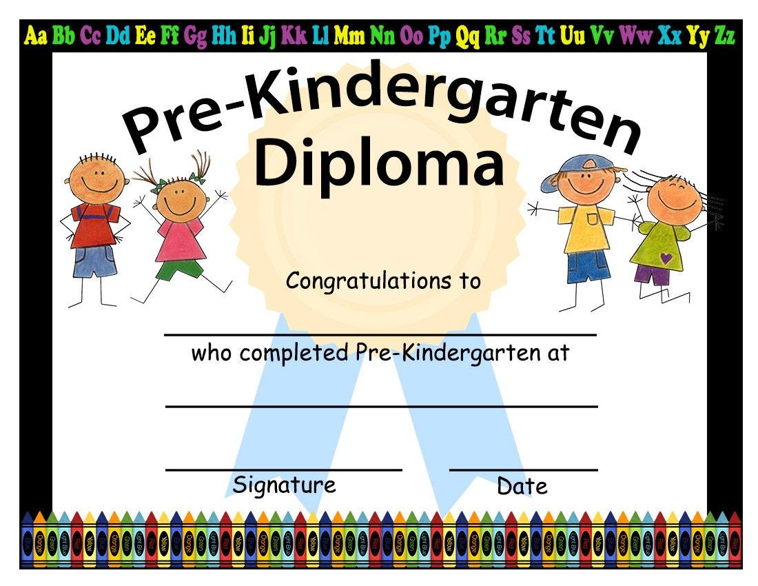 Pre-Kindergarten Graduation Diplomas Blank Graduation