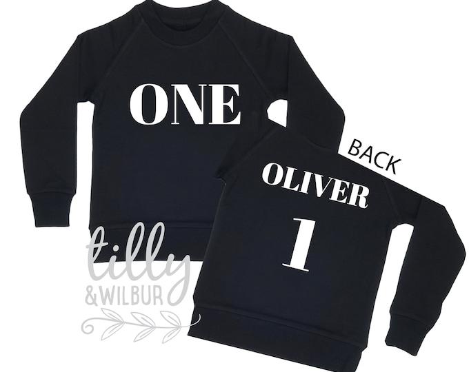 One Personalised Boys 1st Birthday Sweatshirt