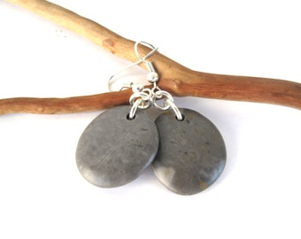 Rock Earrings Beach Stone Earrings Natural Sea Stone Earrings Mediterranean Jewelry River Stone Earrings Pebble Earrings Silver SMOOTHIE