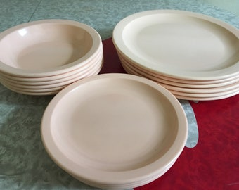 "Vintage Texas Ware Light Peach Melmac Melamine 10' Dinner Plates, 7"" Lunch Plates and 7.5"" Dallas Ware Bowls Sold Separately"