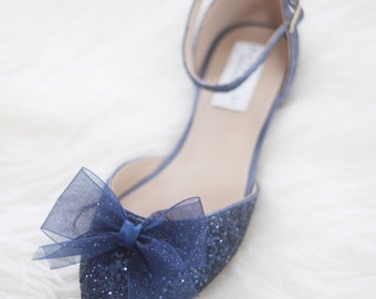 Women Wedding Shoes, Bridesmaid Shoes - NAVY BLUE ROCK Glitter pointy toe flats with organza bow