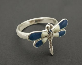 Blue Enamelled Silver Dragonfly Ring