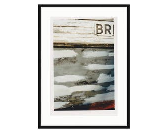 "Abstract shipyard photo. ""BR"" from the series Shipyard Archeology. Printed and framed, three sizes and two frame options. Free shipping"