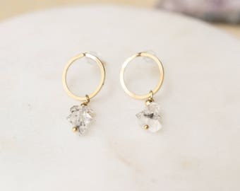 Herkimer Diamond Earrings Herkimer Diamond Earrings Gold Simple Quartz Dangle Earrings Raw Stone Earrings Minimalist Gold Earrings