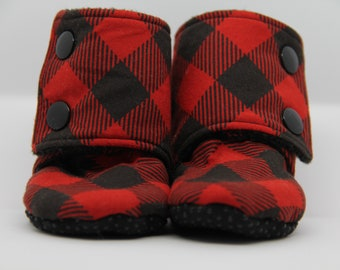 Stay on Booties, Baby Booties, Baby Gifts, Baby Shoes, Buffalo Plaid Booties, Baby Boy, Baby Girl