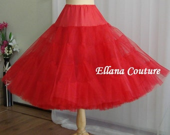 Tea Length Crinoline. Red MEGA Fullness Petticoat. Available in Other Colors.